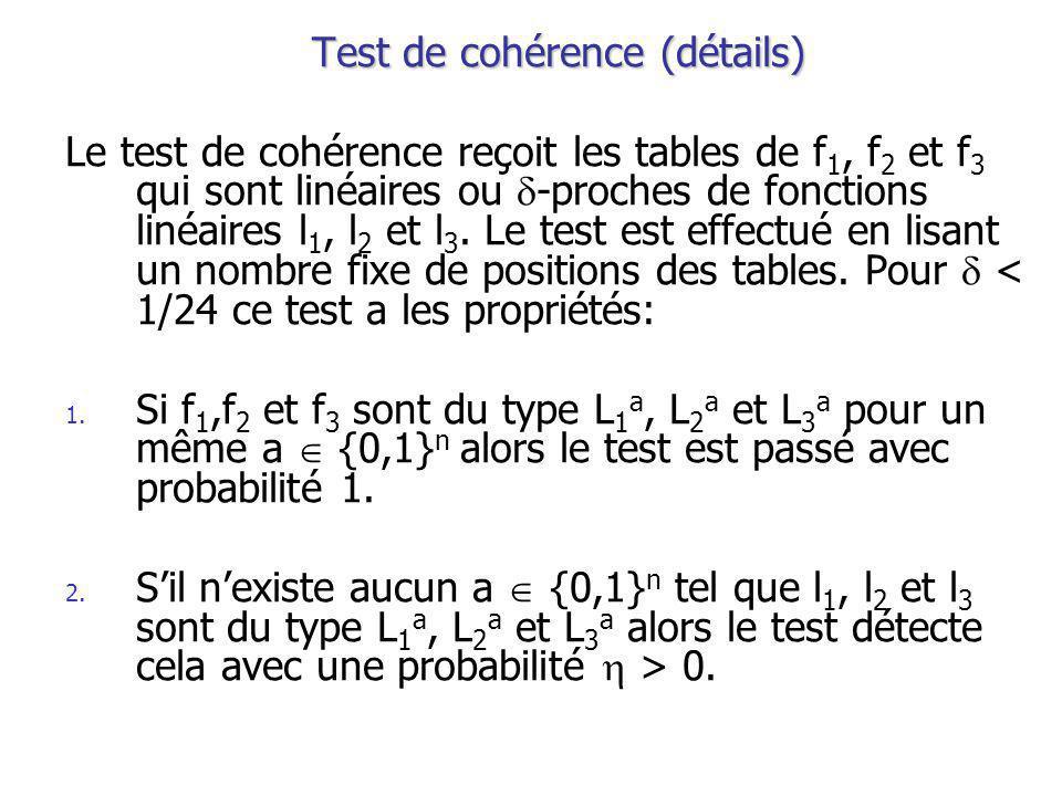 Test de cohérence (détails) Le test de cohérence reçoit les tables de f 1, f 2 et f 3 qui sont linéaires ou -proches de fonctions linéaires l 1, l 2 et l 3.