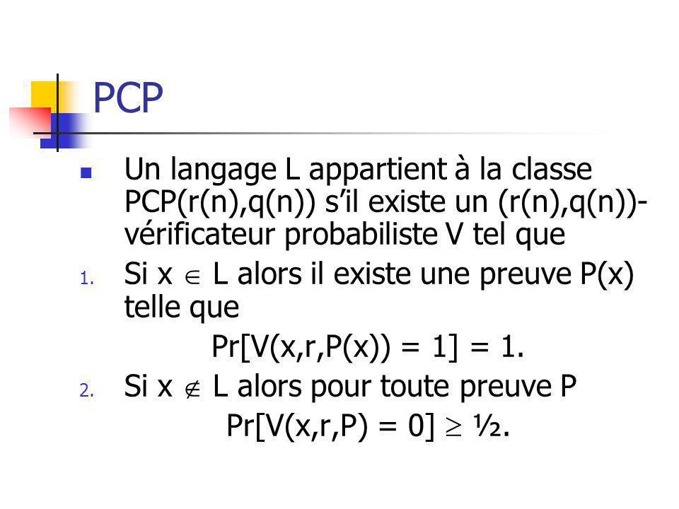 Remarques On dénote PCP(poly,q(n)) lunion de toutes les classe PCP(n k,q(n)) et PCP(r(n),poly) lunion de toutes les classes PCP(r(n),n k ).