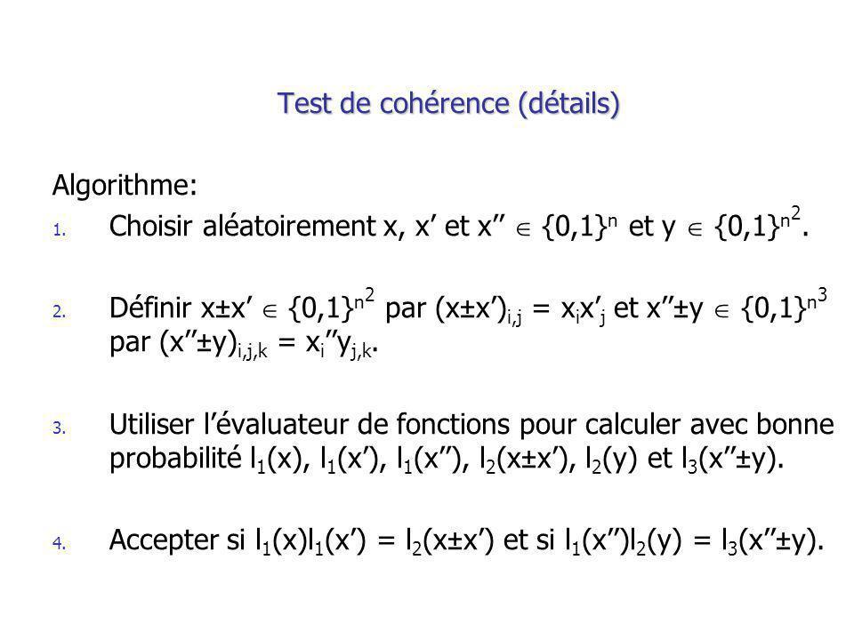 Test de cohérence (détails) Algorithme: 1. Choisir aléatoirement x, x et x {0,1} n et y {0,1} n 2.