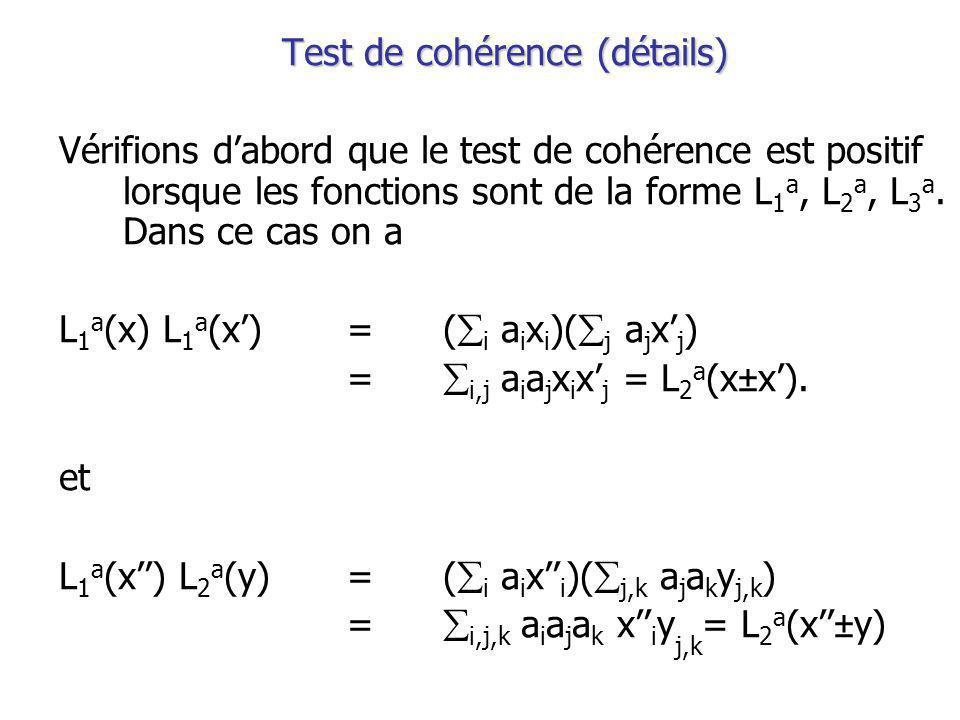 Test de cohérence (détails) Vérifions dabord que le test de cohérence est positif lorsque les fonctions sont de la forme L 1 a, L 2 a, L 3 a.