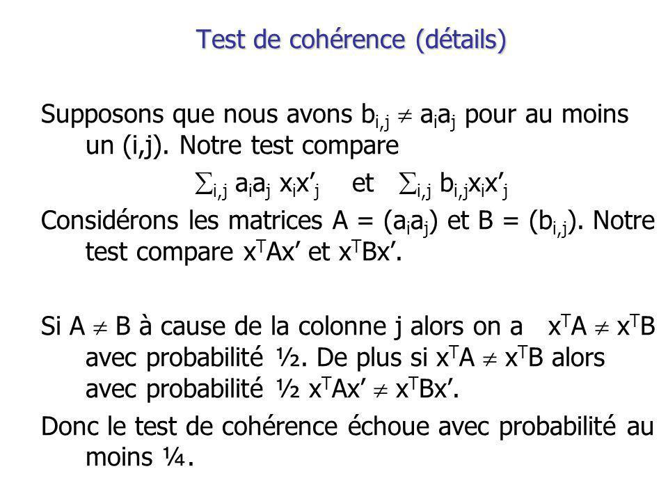 Test de cohérence (détails) Supposons que nous avons b i,j a i a j pour au moins un (i,j).