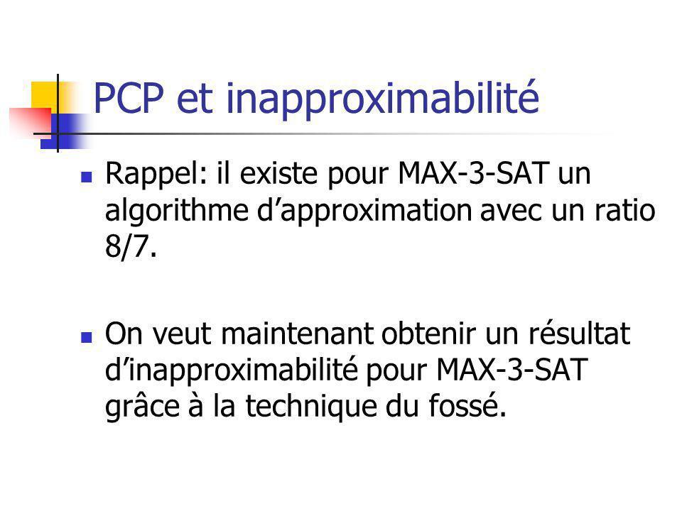 PCP et inapproximabilité Rappel: il existe pour MAX-3-SAT un algorithme dapproximation avec un ratio 8/7.