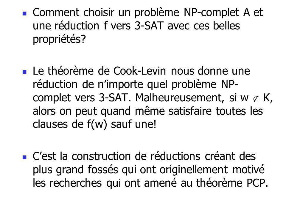 Comment choisir un problème NP-complet A et une réduction f vers 3-SAT avec ces belles propriétés.