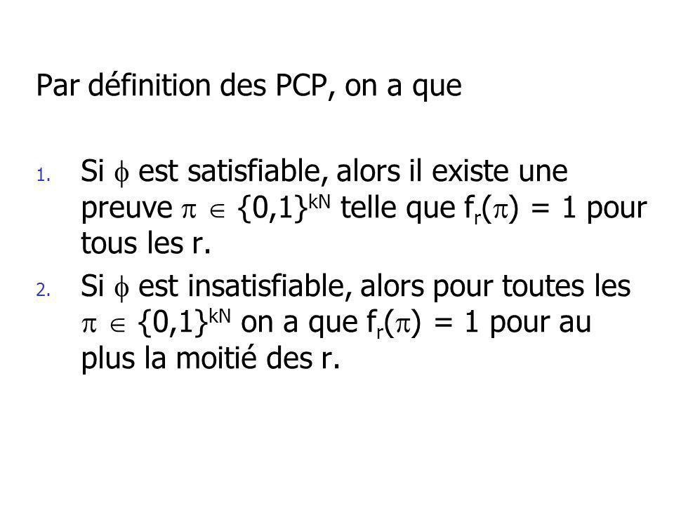 Par définition des PCP, on a que 1.