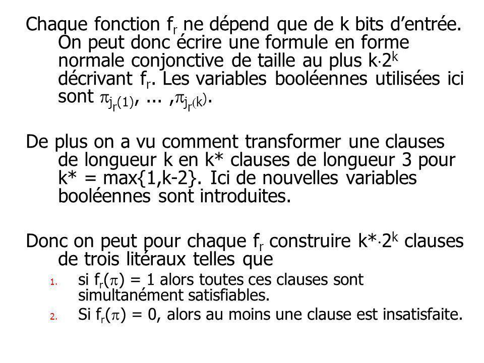 Chaque fonction f r ne dépend que de k bits dentrée.