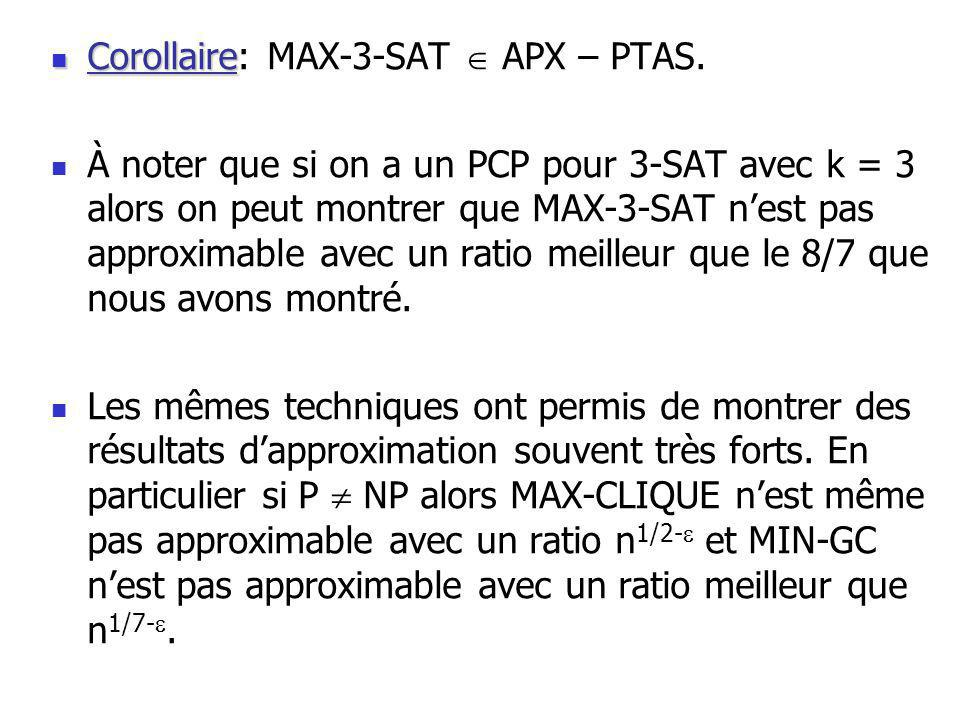 Corollaire Corollaire: MAX-3-SAT APX – PTAS.