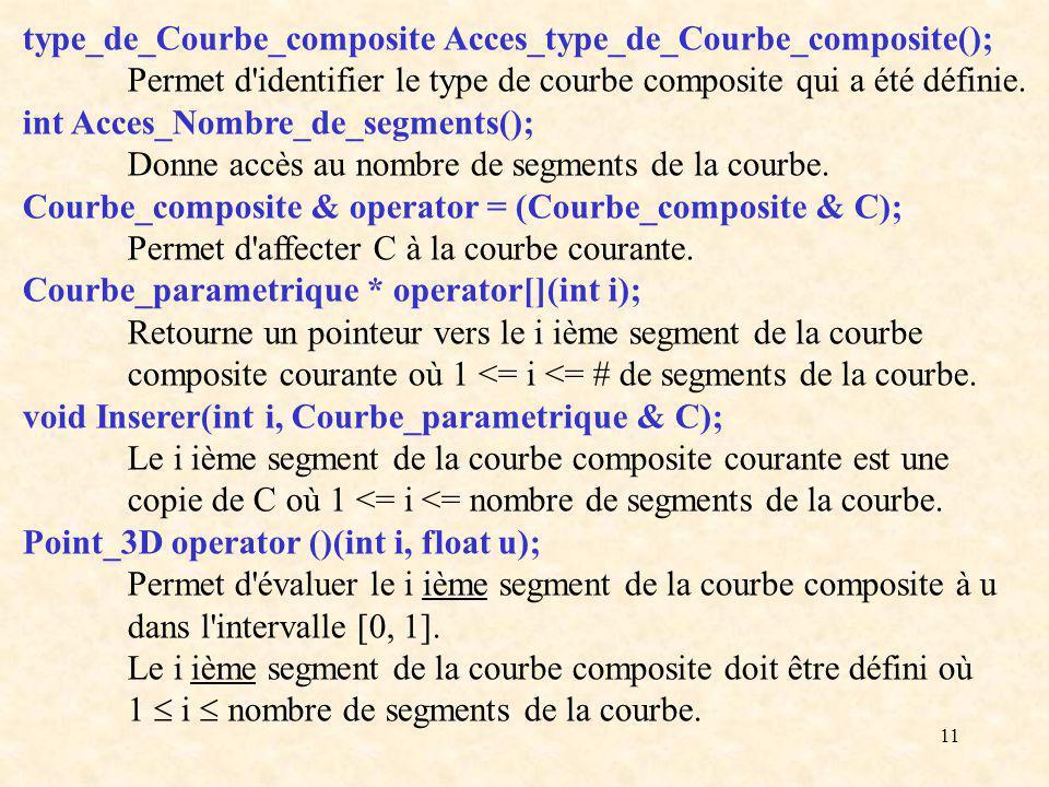 11 type_de_Courbe_composite Acces_type_de_Courbe_composite(); Permet d identifier le type de courbe composite qui a été définie.