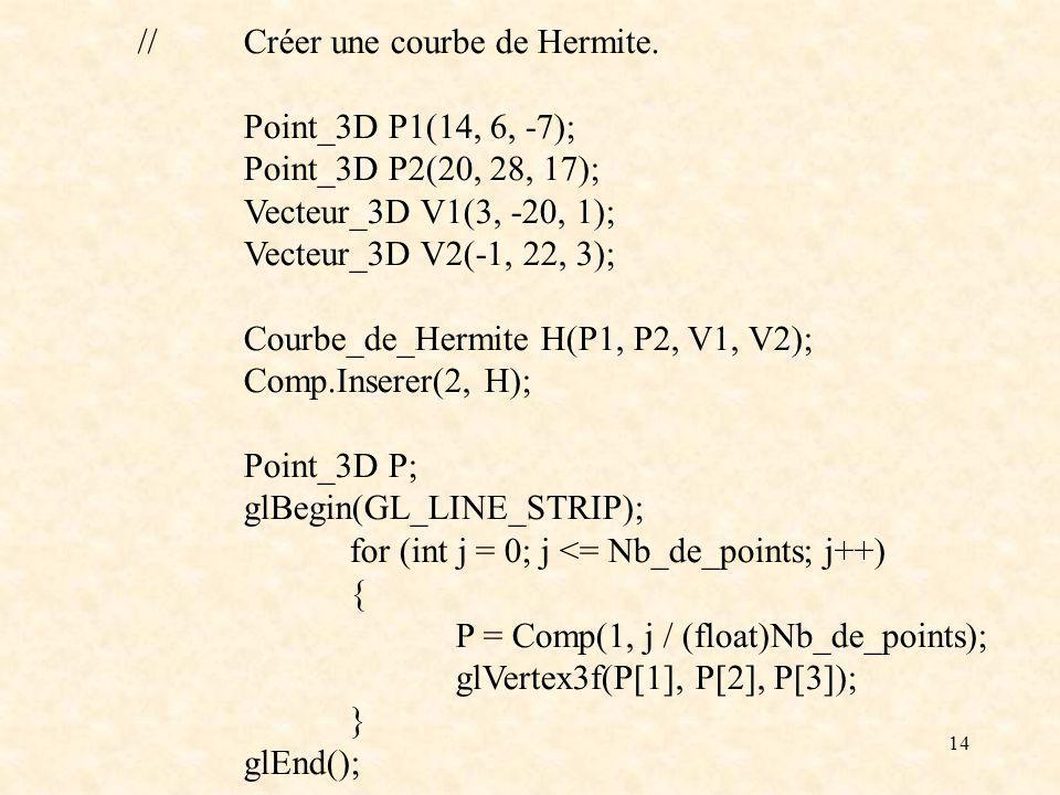 14 //Créer une courbe de Hermite.
