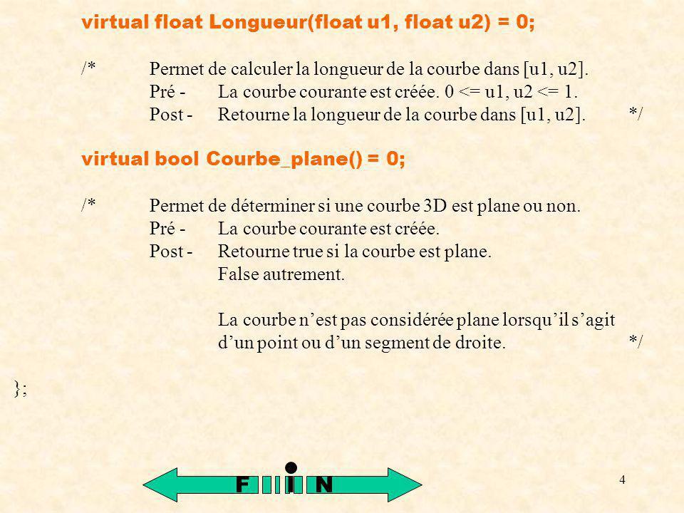 15 glColor3f(0.0, 0.0, 1.0); glBegin(GL_LINE_STRIP); for (int k = 0; k <= Nb_de_points; k++) { P = Comp(2, k / (float)Nb_de_points); glVertex3f(P[1], P[2], P[3]); } glEnd(); /*Permet de s assurer que l exécution des primitives d affichage est complétée.*/ glFlush(); }