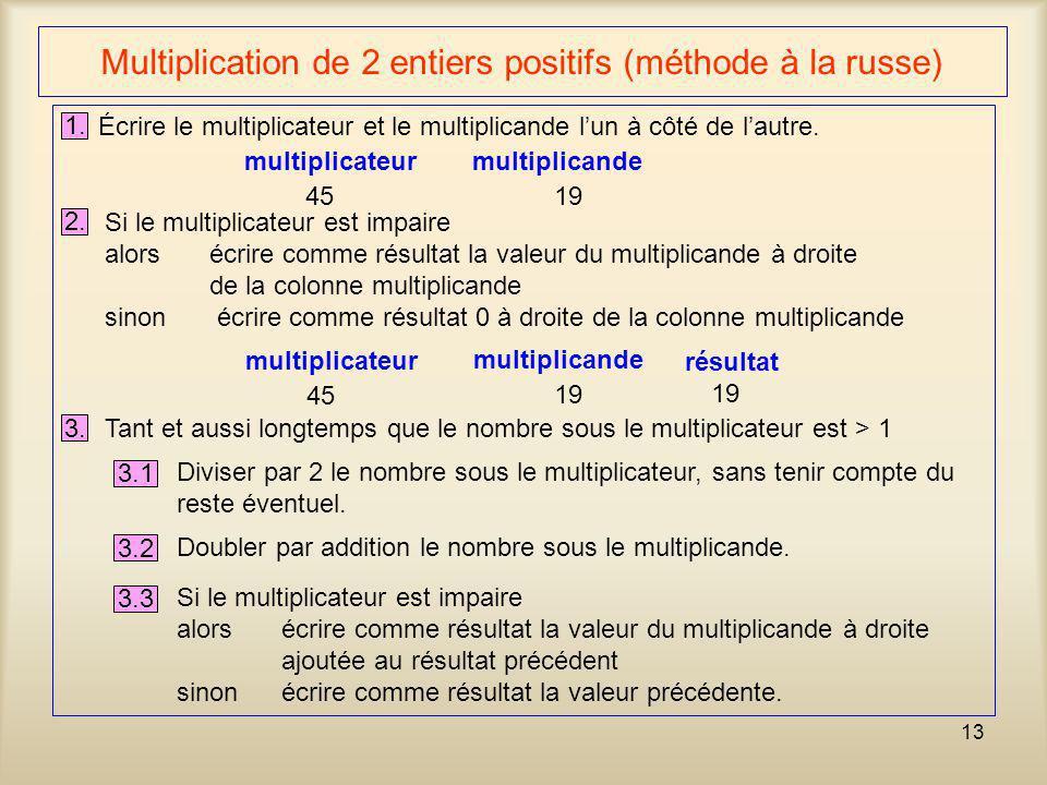 13 Multiplication de 2 entiers positifs (méthode à la russe) 1. Écrire le multiplicateur et le multiplicande lun à côté de lautre. multiplicateur mult
