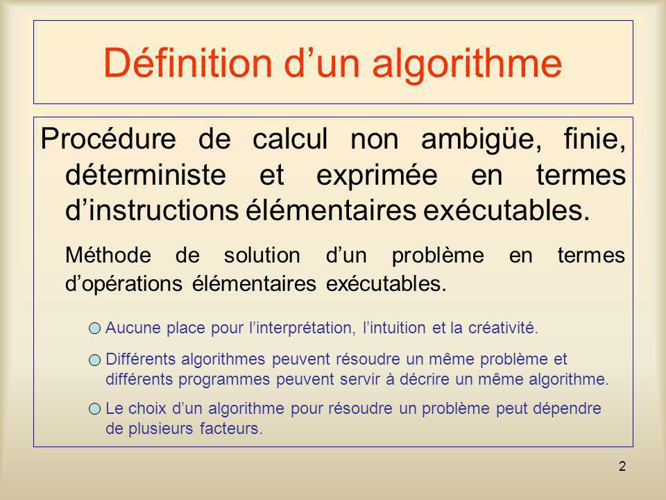 2 Définition dun algorithme Procédure de calcul non ambigüe, finie, déterministe et exprimée en termes dinstructions élémentaires exécutables. Méthode
