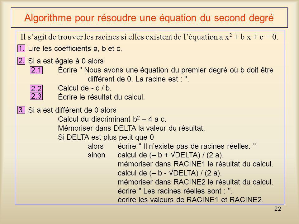 22 Algorithme pour résoudre une équation du second degré Il sagit de trouver les racines si elles existent de léquation a x 2 + b x + c = 0. 1. Lire l
