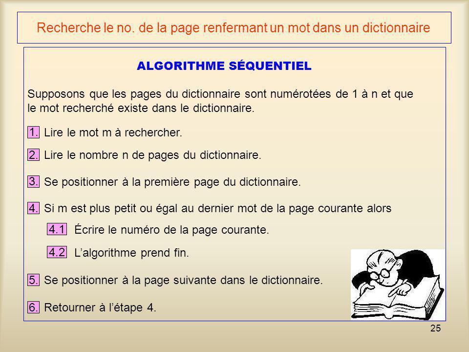 25 Recherche le no. de la page renfermant un mot dans un dictionnaire 1. Lire le mot m à rechercher. 2. Lire le nombre n de pages du dictionnaire. Sup