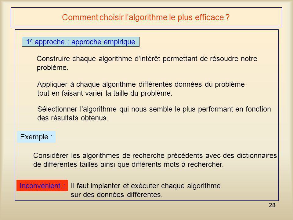 28 Comment choisir lalgorithme le plus efficace ? 1 e approche : approche empirique Construire chaque algorithme dintérêt permettant de résoudre notre