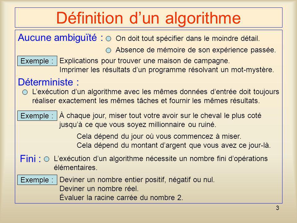 3 Aucune ambiguïté : Lexécution dun algorithme avec les mêmes données dentrée doit toujours réaliser exactement les mêmes tâches et fournir les mêmes