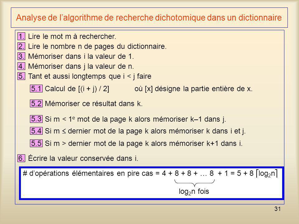 31 Analyse de lalgorithme de recherche dichotomique dans un dictionnaire 1. Lire le mot m à rechercher. 2. Lire le nombre n de pages du dictionnaire.