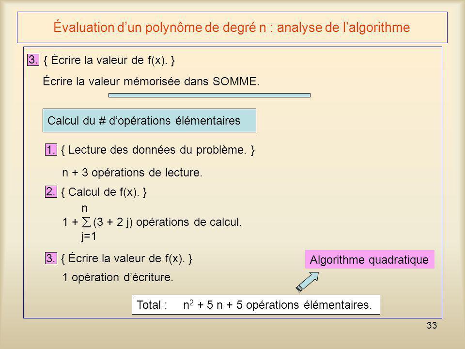 33 Évaluation dun polynôme de degré n : analyse de lalgorithme 3. { Écrire la valeur de f(x). } Écrire la valeur mémorisée dans SOMME. Calcul du # dop