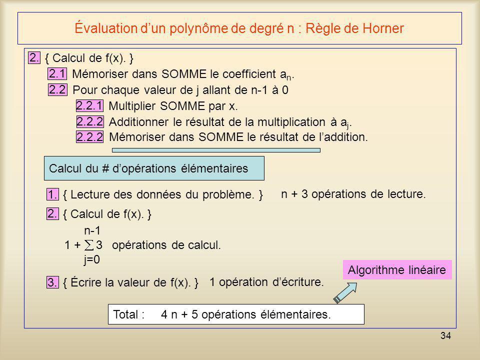 34 Évaluation dun polynôme de degré n : Règle de Horner 2. { Calcul de f(x). } 2.1 Mémoriser dans SOMME le coefficient a n. 2.2 Pour chaque valeur de
