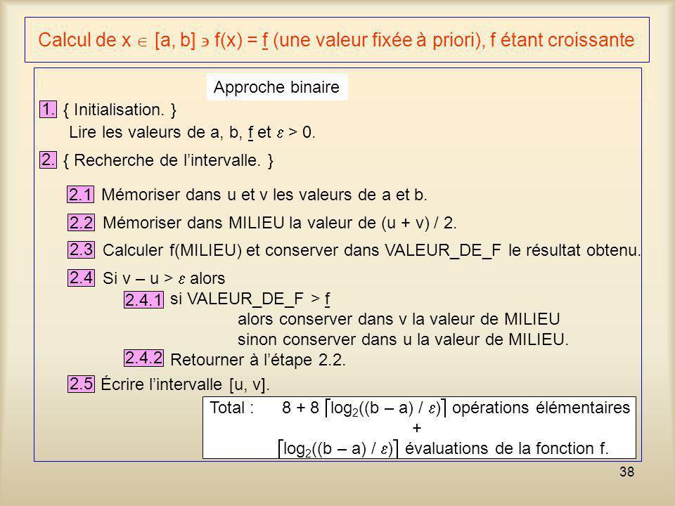 38 Calcul de x [a, b] f(x) = f (une valeur fixée à priori), f étant croissante 1. { Initialisation. } Approche binaire Lire les valeurs de a, b, f et