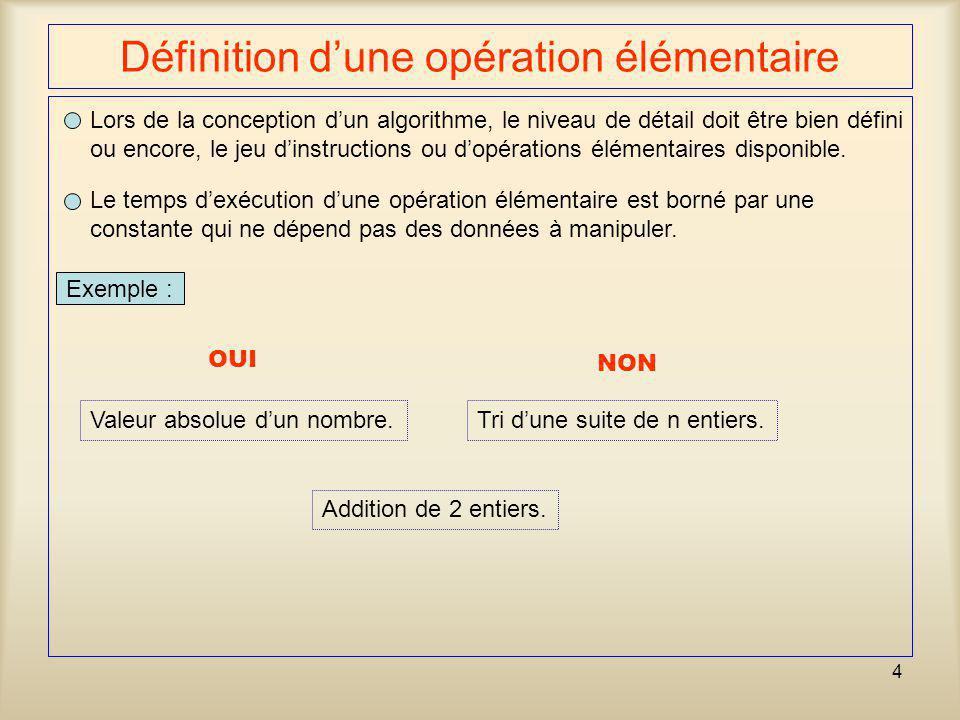 35 Comparaison des deux algorithmes n 1 5 10 15 10 50 100 20 Courbe linéaire Courbe quadratique # dopérations élémentaires Cas particulier : n = 1045 vs 155 opérations élémentaires.