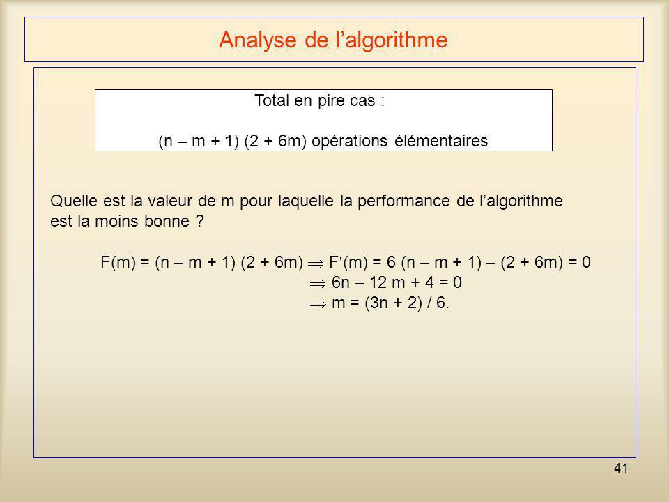 41 Analyse de lalgorithme Total en pire cas : (n – m + 1) (2 + 6m) opérations élémentaires Quelle est la valeur de m pour laquelle la performance de l
