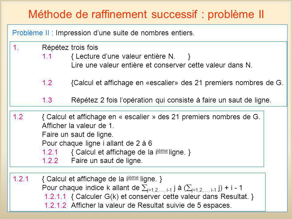 48 Méthode de raffinement successif : problème II Problème II : Impression dune suite de nombres entiers. 1.Répétez trois fois 1.1{ Lecture dune valeu