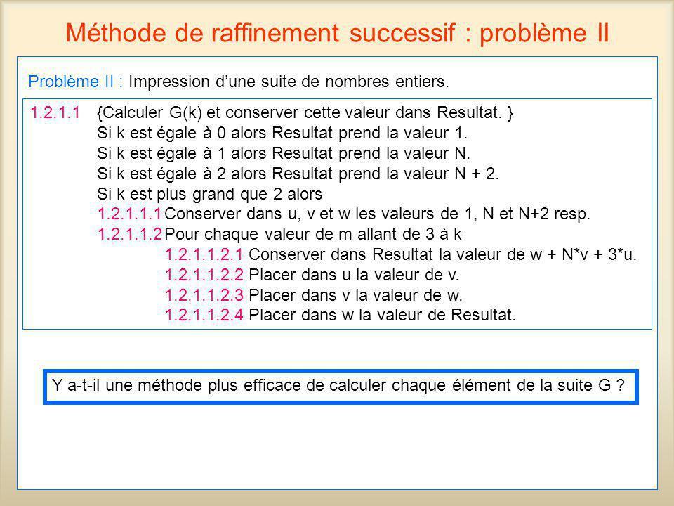49 Méthode de raffinement successif : problème II Problème II : Impression dune suite de nombres entiers. 1.2.1.1 {Calculer G(k) et conserver cette va