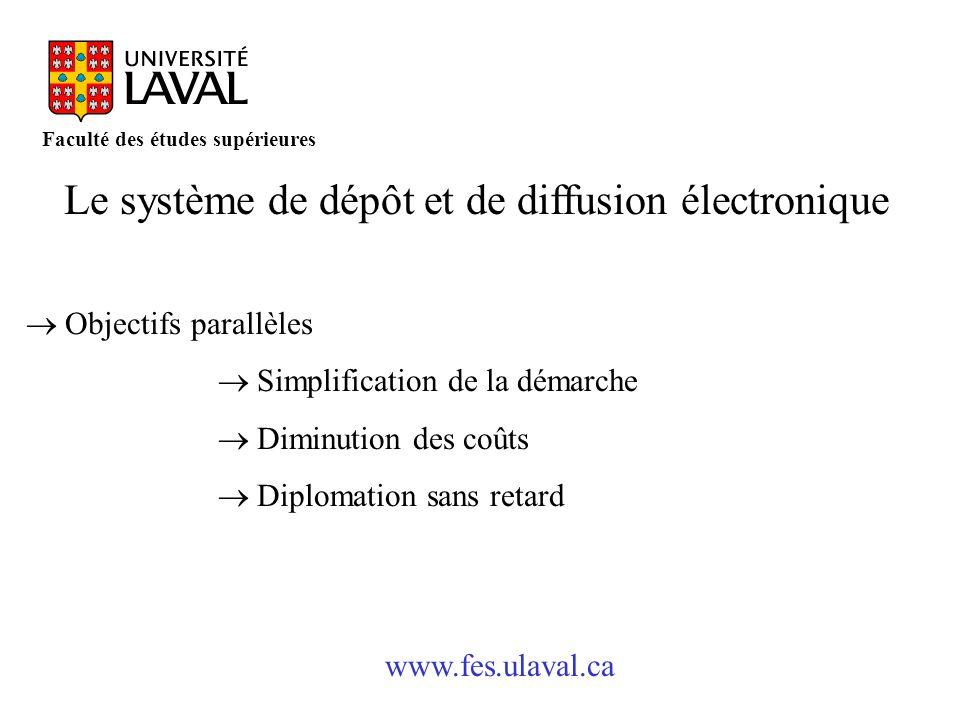 www.fes.ulaval.ca Faculté des études supérieures Le système de dépôt et de diffusion électronique Objectifs parallèles Simplification de la démarche D
