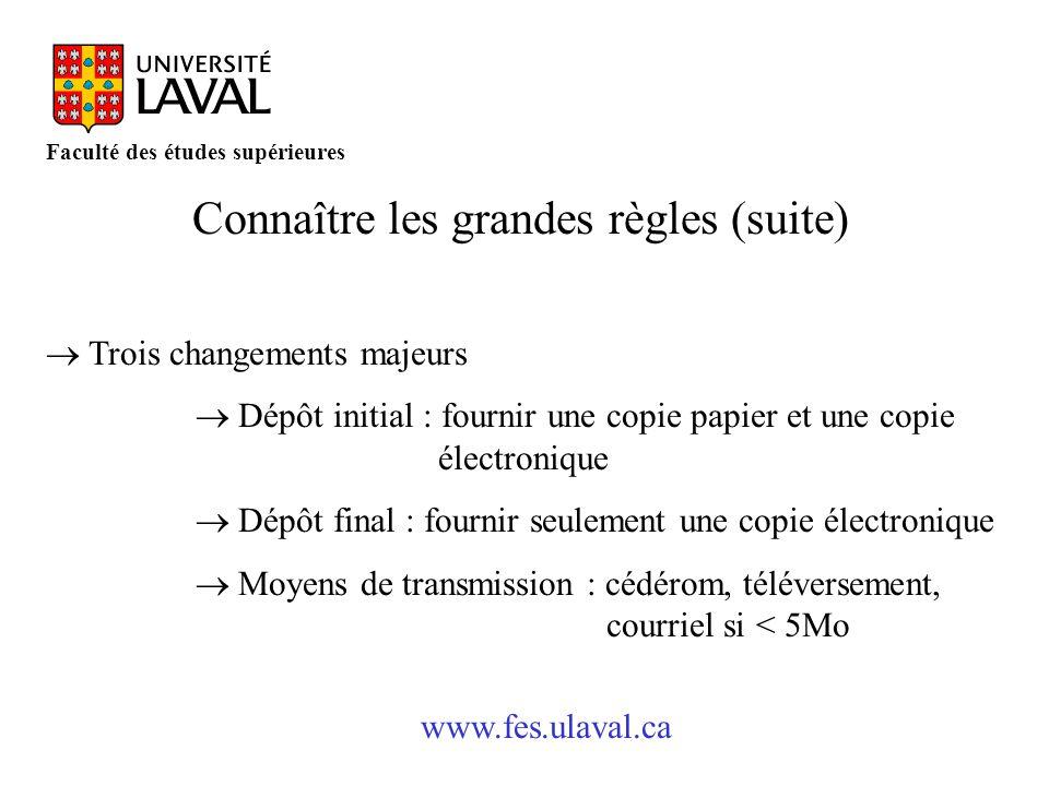 www.fes.ulaval.ca Faculté des études supérieures Connaître les grandes règles (suite) Trois changements majeurs Dépôt initial : fournir une copie papi