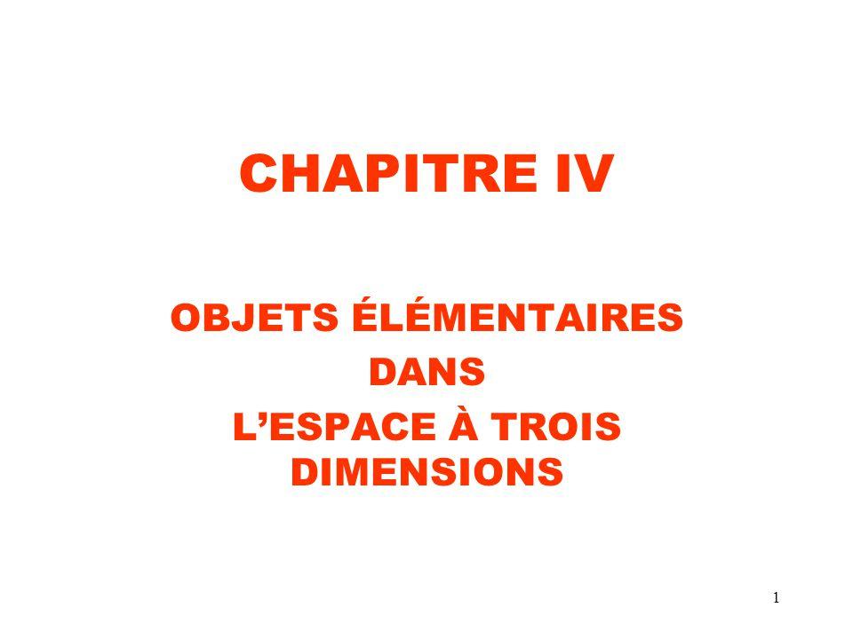 1 CHAPITRE IV OBJETS ÉLÉMENTAIRES DANS LESPACE À TROIS DIMENSIONS