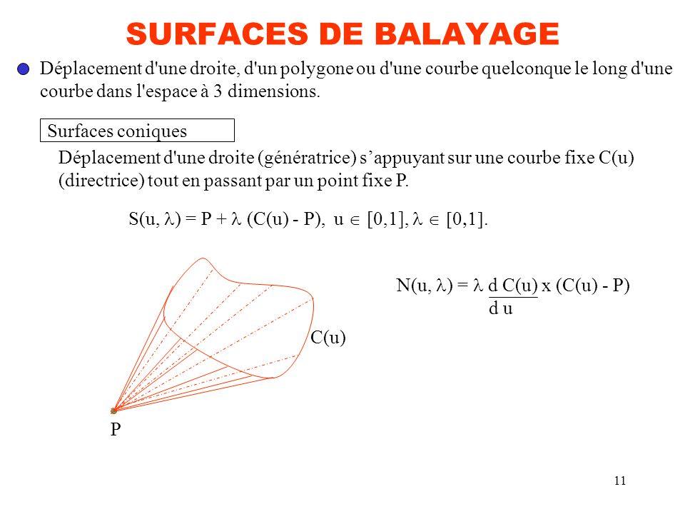 11 SURFACES DE BALAYAGE Déplacement d'une droite, d'un polygone ou d'une courbe quelconque le long d'une courbe dans l'espace à 3 dimensions. Surfaces