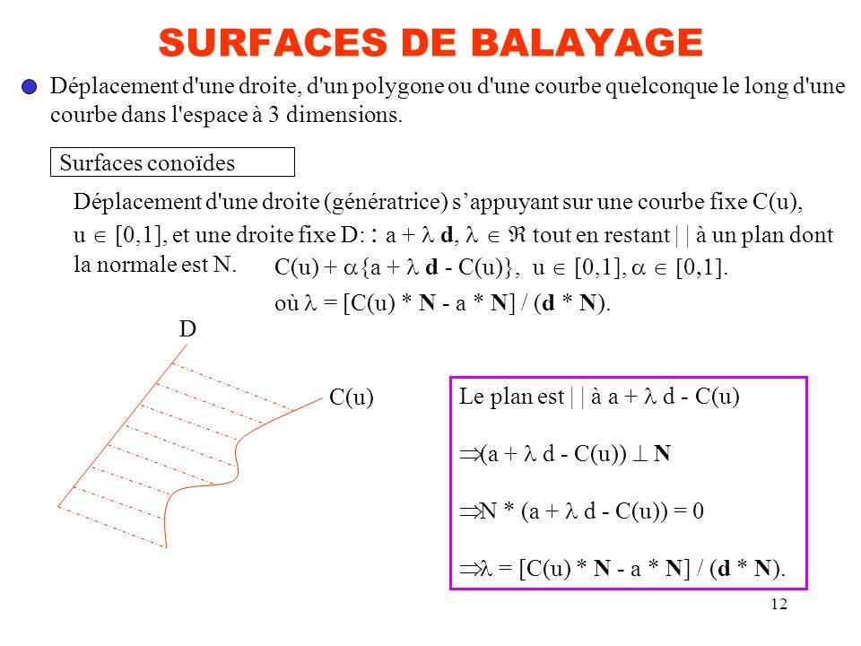 12 SURFACES DE BALAYAGE Déplacement d'une droite, d'un polygone ou d'une courbe quelconque le long d'une courbe dans l'espace à 3 dimensions. Surfaces