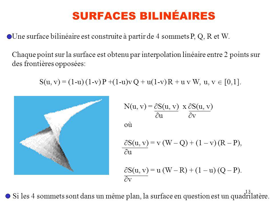 13 SURFACES BILINÉAIRES Une surface bilinéaire est construite à partir de 4 sommets P, Q, R et W. Chaque point sur la surface est obtenu par interpola
