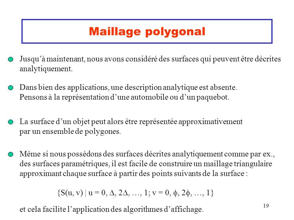 19 Maillage polygonal Jusquà maintenant, nous avons considéré des surfaces qui peuvent être décrites analytiquement. Dans bien des applications, une d