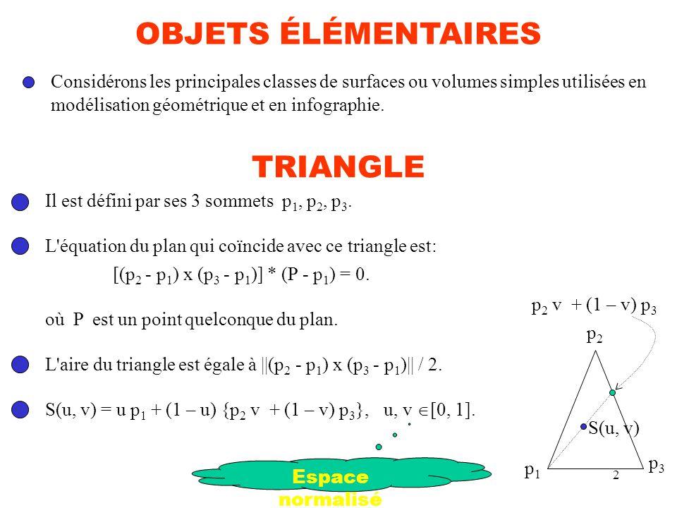 2 TRIANGLE Il est défini par ses 3 sommets p 1, p 2, p 3. L'équation du plan qui coïncide avec ce triangle est: [(p 2 - p 1 ) x (p 3 - p 1 )] * (P - p