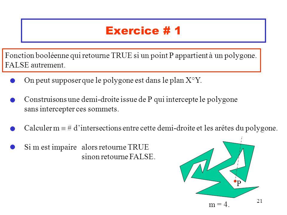 21 Exercice # 1 Fonction booléenne qui retourne TRUE si un point P appartient à un polygone. FALSE autrement. On peut supposer que le polygone est dan