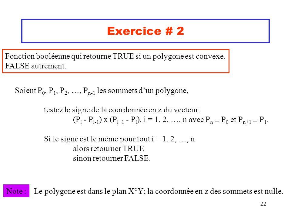 22 Exercice # 2 Fonction booléenne qui retourne TRUE si un polygone est convexe. FALSE autrement. Soient P 0, P 1, P 2, …, P n-1 les sommets dun polyg