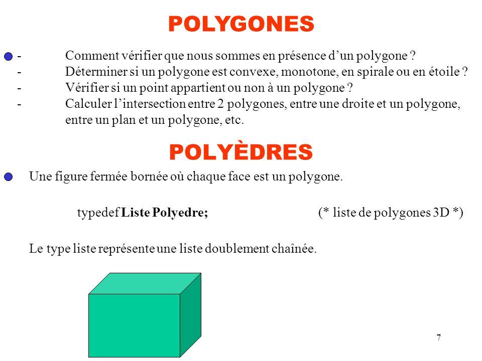 7 POLYÈDRES Une figure fermée bornée où chaque face est un polygone. typedef Liste Polyedre;(* liste de polygones 3D *) Le type liste représente une l