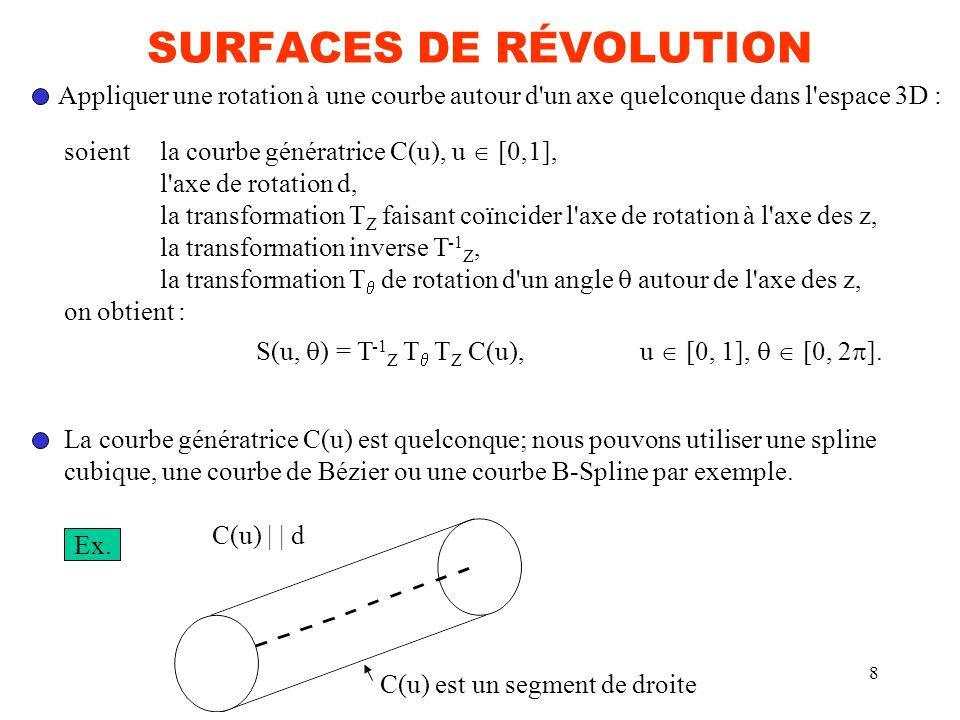 8 SURFACES DE RÉVOLUTION Appliquer une rotation à une courbe autour d'un axe quelconque dans l'espace 3D : soientla courbe génératrice C(u), u [0,1],