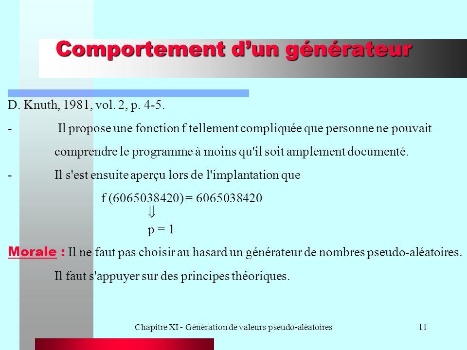 Chapitre XI - Génération de valeurs pseudo-aléatoires11 Comportement dun générateur D. Knuth, 1981, vol. 2, p. 4-5. - Il propose une fonction f tellem