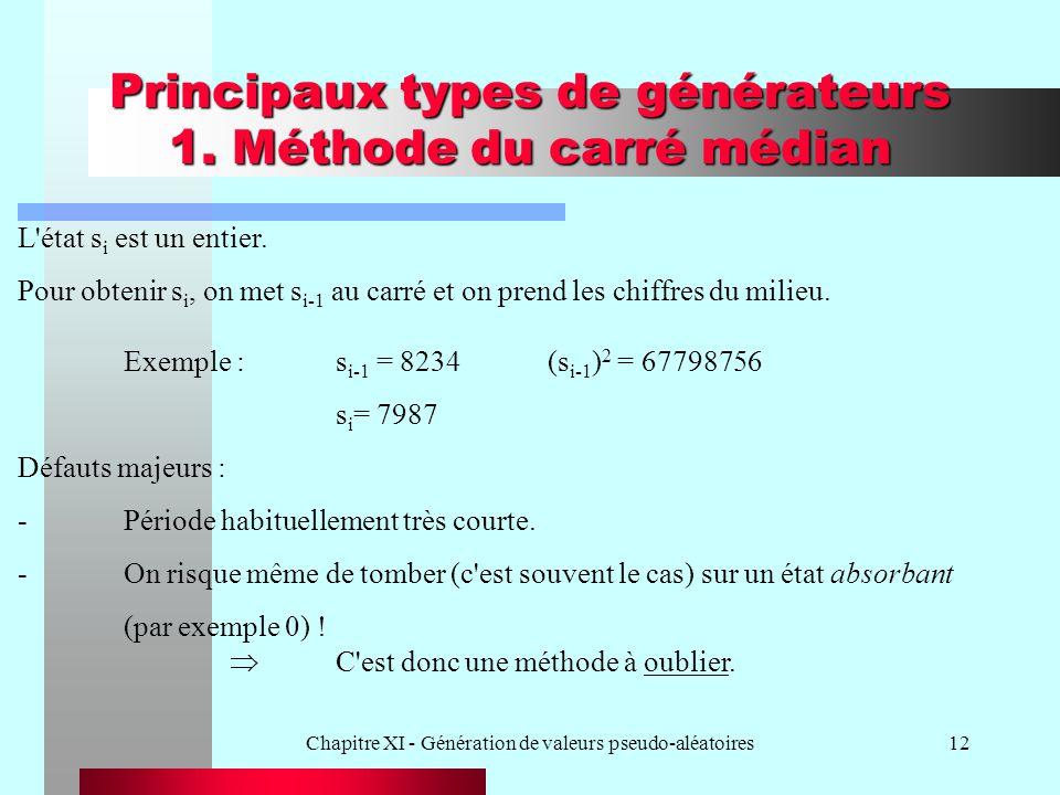 Chapitre XI - Génération de valeurs pseudo-aléatoires12 Principaux types de générateurs 1. Méthode du carré médian L'état s i est un entier. Pour obte