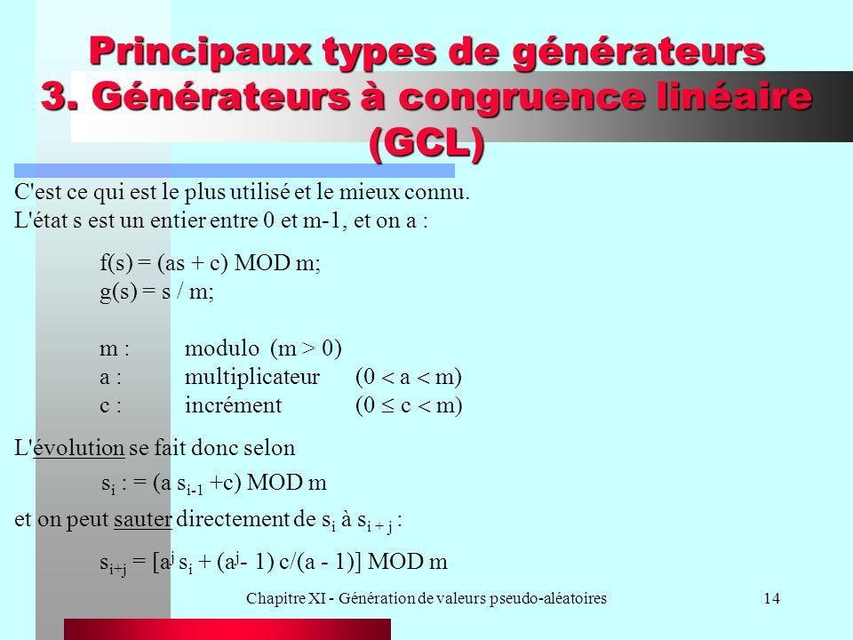 Chapitre XI - Génération de valeurs pseudo-aléatoires14 Principaux types de générateurs 3. Générateurs à congruence linéaire (GCL) C'est ce qui est le