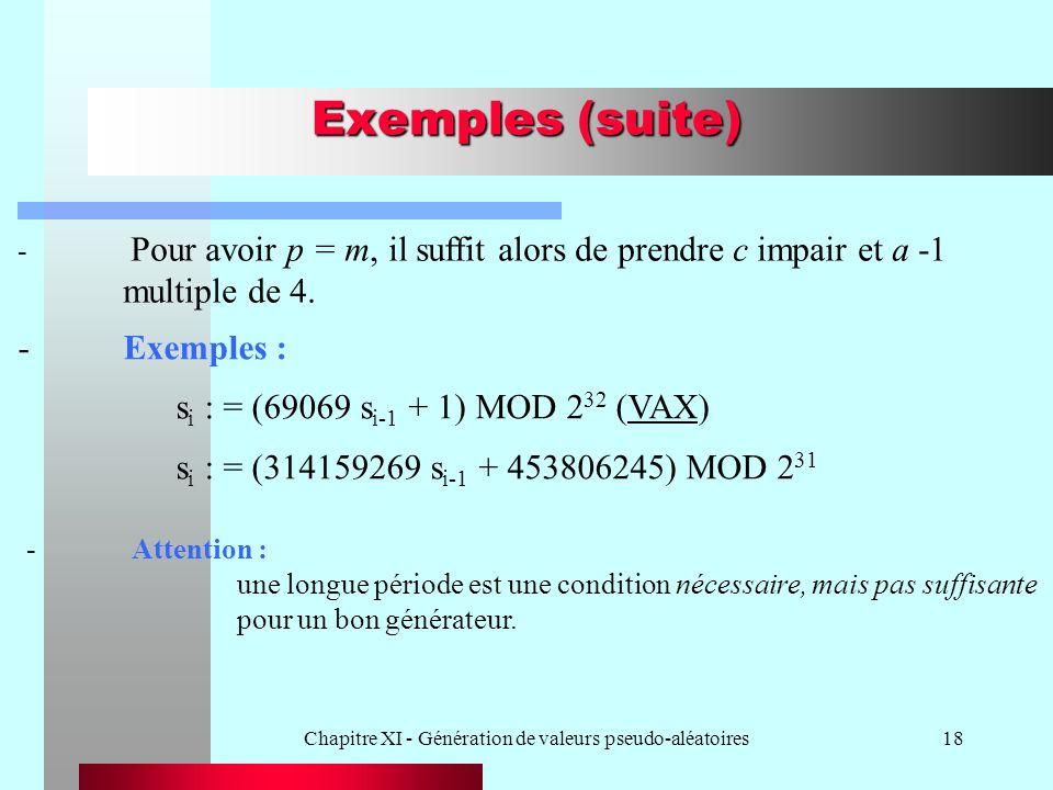 Chapitre XI - Génération de valeurs pseudo-aléatoires18 Exemples (suite) -Exemples : s i : = (69069 s i-1 + 1) MOD 2 32 (VAX) s i : = (314159269 s i-1