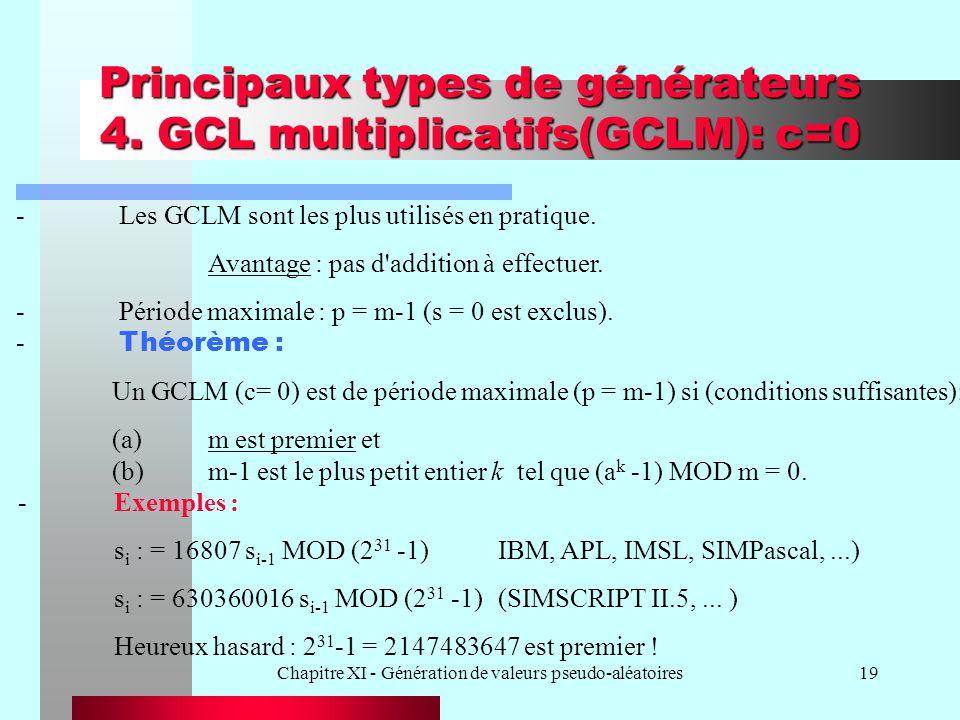 Chapitre XI - Génération de valeurs pseudo-aléatoires19 Principaux types de générateurs 4. GCL multiplicatifs(GCLM): c=0 - Les GCLM sont les plus util