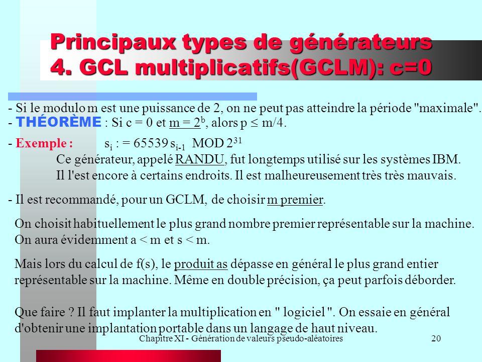 Chapitre XI - Génération de valeurs pseudo-aléatoires20 Principaux types de générateurs 4. GCL multiplicatifs(GCLM): c=0 - THÉORÈME : Si c = 0 et m =