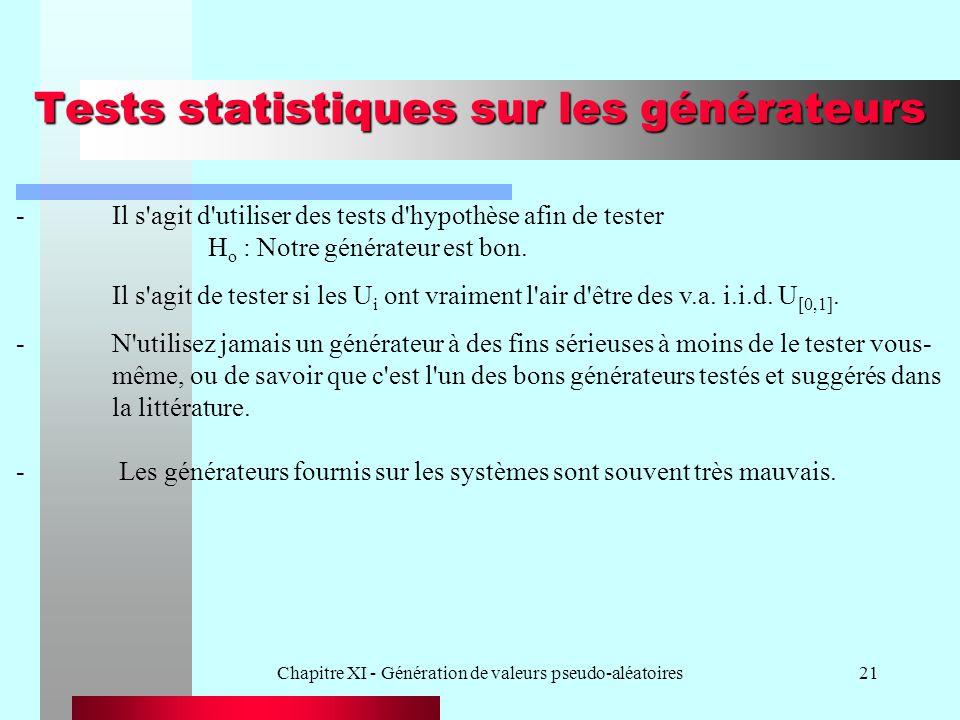 Chapitre XI - Génération de valeurs pseudo-aléatoires21 Tests statistiques sur les générateurs -Il s'agit d'utiliser des tests d'hypothèse afin de tes