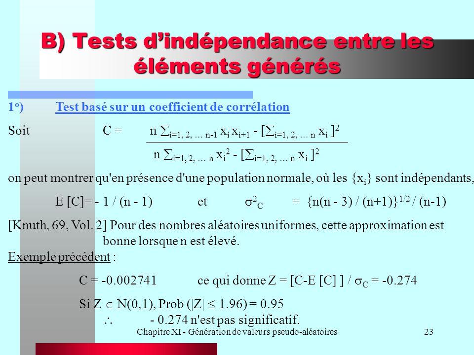 Chapitre XI - Génération de valeurs pseudo-aléatoires23 B) Tests dindépendance entre les éléments générés 1 o )Test basé sur un coefficient de corréla