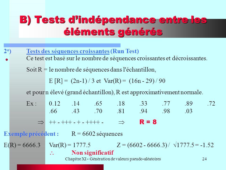 Chapitre XI - Génération de valeurs pseudo-aléatoires24 B) Tests dindépendance entre les éléments générés 2 o )Tests des séquences croissantes (Run Te