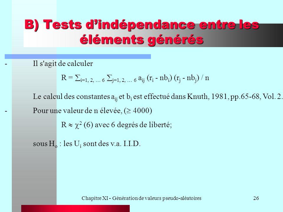Chapitre XI - Génération de valeurs pseudo-aléatoires26 B) Tests dindépendance entre les éléments générés -Il s'agit de calculer R = i=1, 2, … 6 j=1,