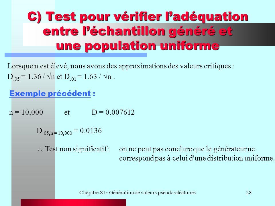 Chapitre XI - Génération de valeurs pseudo-aléatoires28 C) Test pour vérifier ladéquation entre léchantillon généré et une population uniforme Lorsque